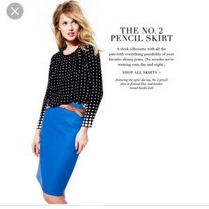 NWT J. Crew No. 2 Pencil Skirt Cobalt  Blue 8 $110